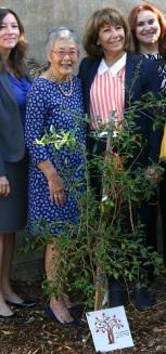 Board member Radliff, Senator Liu, garden sponsor Maria Mehranian, and LA's BEST's Edith Ballesteros