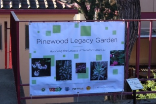Garden signage highlights native plants.